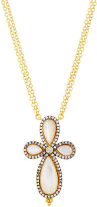 Freida Rothman Long Pave Crystal Clover Pendant Necklace