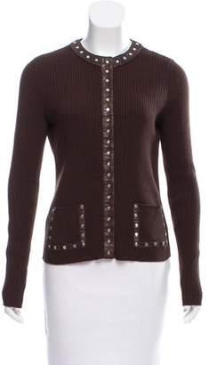 Celine Leather-Trimmed Wool Cardigan