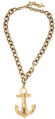 Saint Laurent Anchor Pendant Necklace