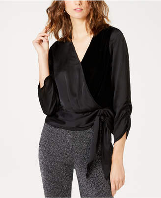 INC International Concepts I.n.c. Petite Velvet Wrap Top