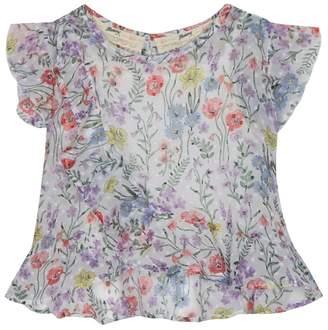 Mantaray Girls' White Floral Print Blouse
