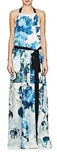 BY. Bonnie Young BY. BONNIE YOUNG WOMEN'S FLORAL SILK APRON DRESS-BLUE SIZE M
