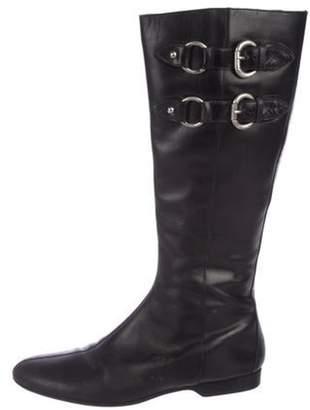 Donald J Pliner Leather Knee-High Boots Black Leather Knee-High Boots