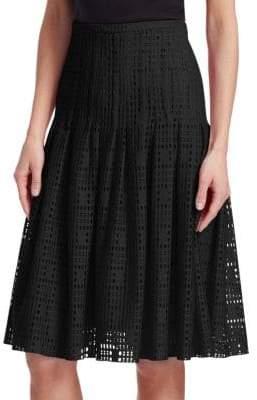 Akris Punto Pleated Lace A-line Skirt