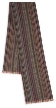 Paul Smith Multistripe Wool Herringbone Scarf