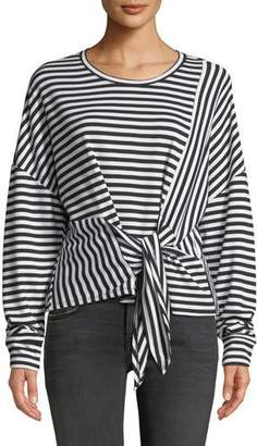 Parker Nanette Striped Long-Sleeve Tie-Front Top