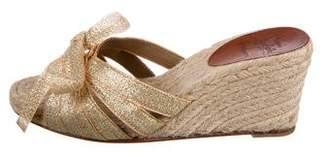 Christian Louboutin Metallic Woven Espadrille Wedge Sandals