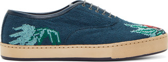 Paul Smith Blue Lady Bug Cross Stitch Shoes $810 thestylecure.com