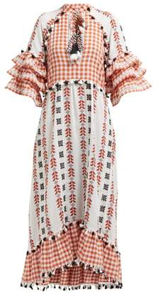 Dodo Bar Or Lola Ruffle Sleeve Cotton Maxi Dress - Womens - Tan Multi