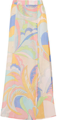 Emilio Pucci Printed Cotton And Silk-blend Voile Maxi Skirt - Pastel yellow