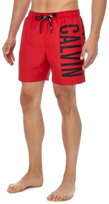 Calvin Klein Red Logo Print Swim Shorts