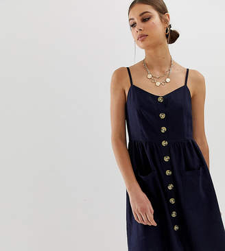 NA-KD Na Kd linen button front dress in navy