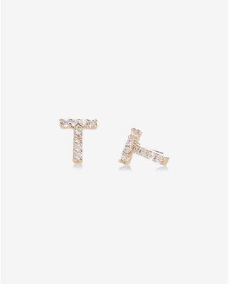 Express Pave T Initial Stud Earrings $14.90 thestylecure.com