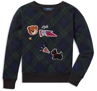 Ralph Lauren Girls' French Terry Plaid Sweatshirt with Chenille Patches - Big Kid
