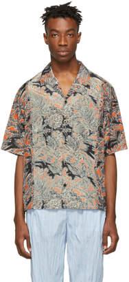 3.1 Phillip Lim Orange and Black Palm Tree Floral Souvenir Short Sleeve Shirt