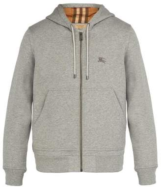 Burberry Hooded Zip Through Cotton Blend Sweatshirt - Mens - Grey