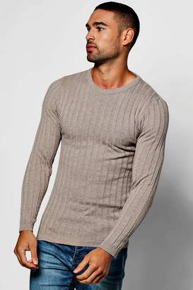 boohoo Muscle Fit Ribbed Crew Jumper