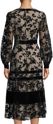 Neiman Marcus Long-Sleeve Mesh Cocktail Midi Dress