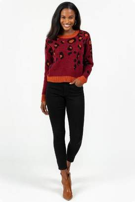 francesca's Micah Cascading Animal Print Sweater - Wine