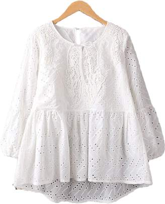 Goodnight Macaroon 'Maggy' White Eyelet Lace Peplum Top