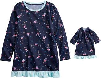 Flamingos Girls 4-16 Jammies For Your Families Skating Nightgown & Doll Gown Pajama Set