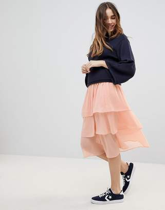 Monki Tiered Midi Skirt