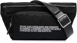 Calvin Klein black address print belt bag