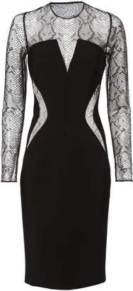 Thierry Mugler Lace Panel Black Midi Dress