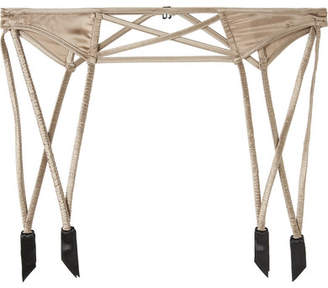 Kiki de Montparnasse Stretch-silk Satin Suspender Belt - Mushroom