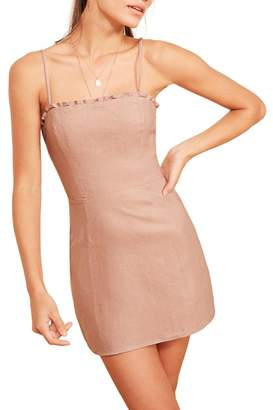 Reformation Ava Ruffle Linen Minidress