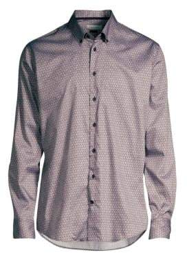 Bugatti Honeycomb Print Sport Shirt