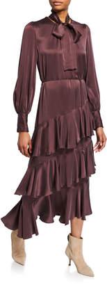 Zimmermann Espionage Tiered Silk Flounce Dress
