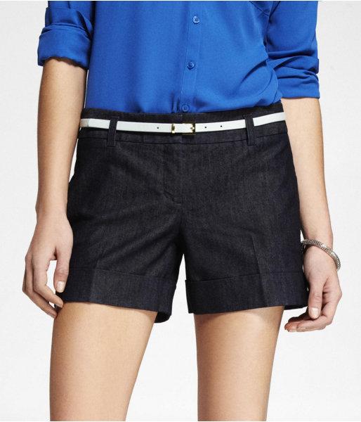 Express 4 1/2 Inch Belted Denim Shorts