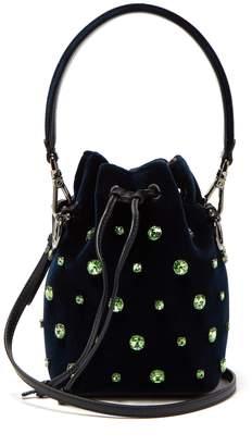 Fendi Mon Tresor crystal-embellished velvet bucket bag