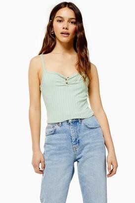 Topshop Womens Petite Button Cami - Sage