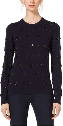 Michael Kors Gem-Embroidered Cashmere Sweater