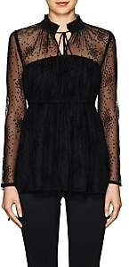 Co Women's Floral Mesh Tiered Blouse - Black