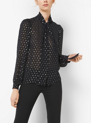 Michael Kors Metallic Dot Silk-Georgette Blouse