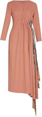 Lake Studio Long Sleeve Gathered Wool Midi Dress