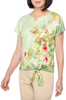 Alfred Dunner Parrot Cay Short Sleeve Split Crew Neck T-Shirt-Womens Petite