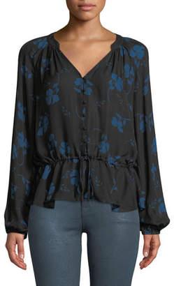 Parker Rosaline Floral Button-Front Silk Blouse