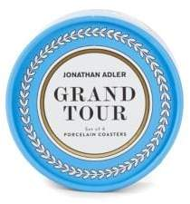 Jonathan Adler Set of Four Grand Tour Multicolored Ceramic Coasters