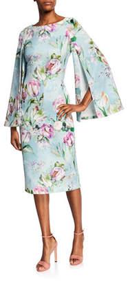 50617e8343 Theia Floral Split-Sleeve Midi Sheath Dress