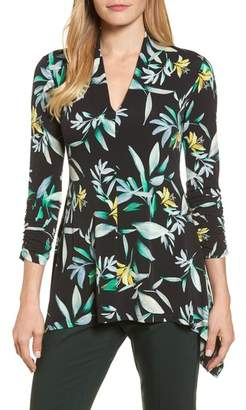 Chaus Ruched Sleeve Floral Print Top