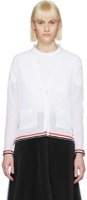 Thom Browne White Relaxed Fit V-Neck Cardigan