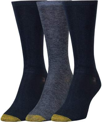 Gold Toe Women's Non-Binding Flat Knit Crew Socks, 3 Pairs
