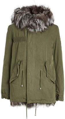 Barbed Cotton Parka with Fur Lining and Trim