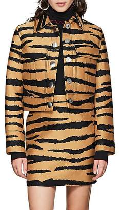 Proenza Schouler Women's Tiger-Pattern Wool-Silk Jacquard Crop Jacket - Camel