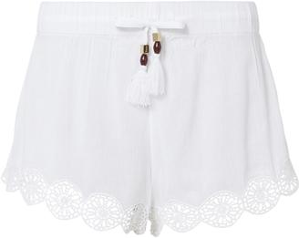 Heidi Klein Crochet Trim Tassel Shorts $160 thestylecure.com