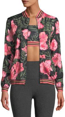 Beyond Yoga True Stripes Floral Bomber Jacket